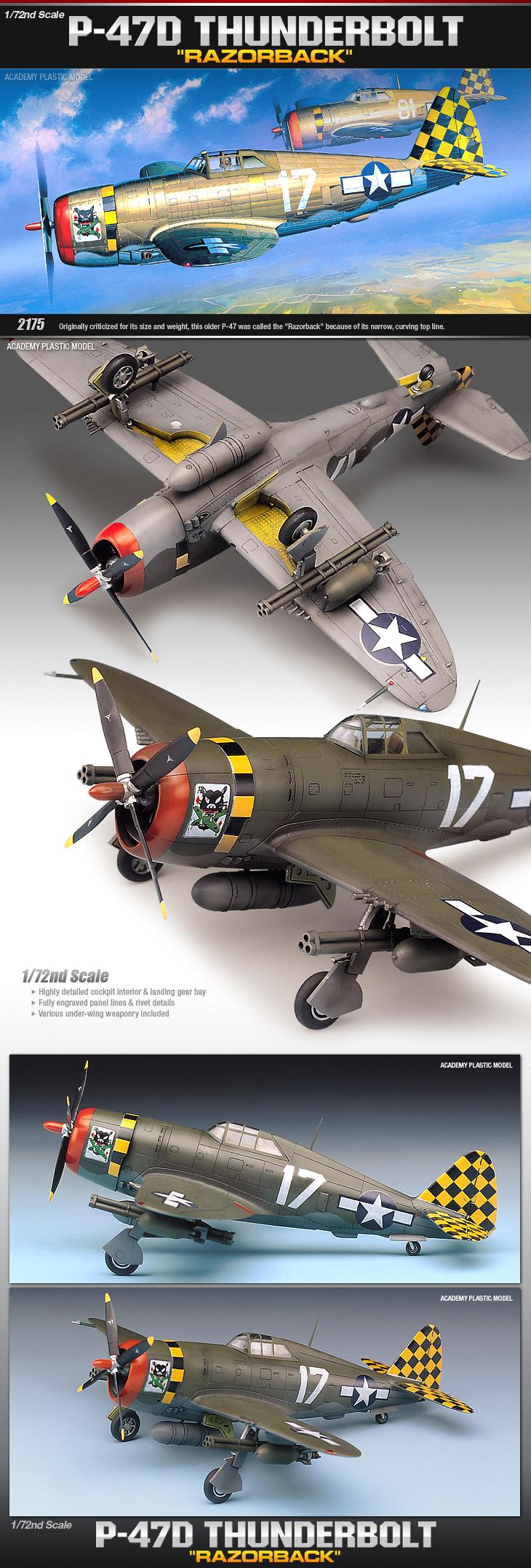 Academy Models 12492 P-47d Thunderbolt Razorback Plastic Model Kit for sale online