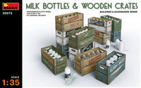 MILK BOTTLES & WOODEN CRATES