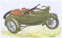 HEAVY MOTORCYCLE M111 SOKÓŁ(FALCON)1000 with SIDE CAR and Browning wz. 28