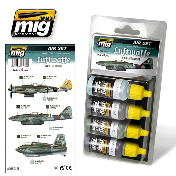 A.MIG 7209 Air Set - Luftwaffe WWII Late Colors - Acrylic color for brush and airbrush - Image 1