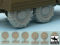 M 8 / M 20 Snowchained wheels set for Tamiya kits, 6 resin parts - Image 1